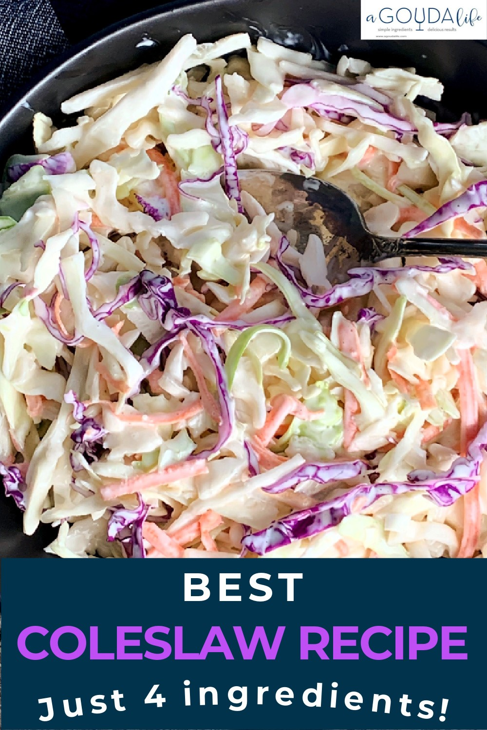 pinterest pin with bowl of coleslaw in creamy dressing and spoon in bowl