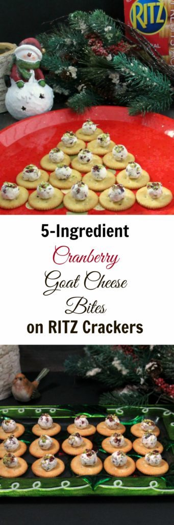 Cranberry Goat Cheese Bites: 5 ingredients/no cooking. Bite-size balls of creamy, tangy goat cheese, sweet-tart cranberries & pistachios on RITZ Crackers.