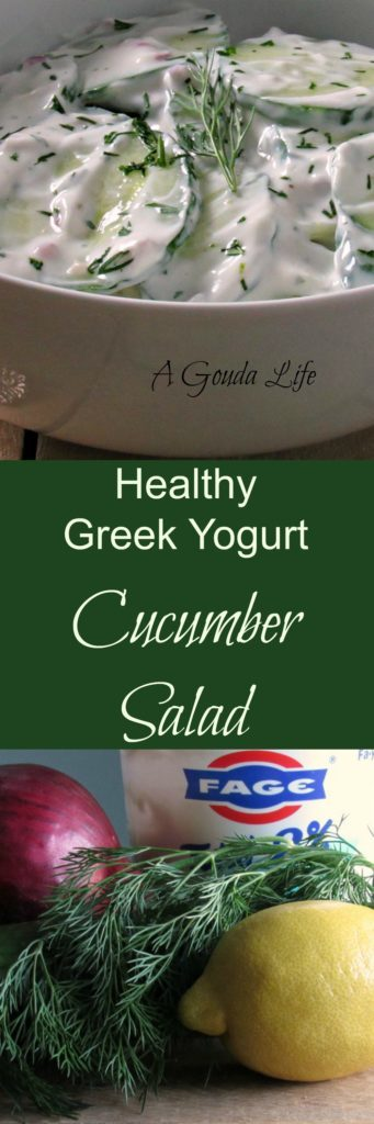 Cucumber Salad ~ cool crisp sliced cucumbers in a Greek yogurt, lemon-herb dressing. Assembles in just minutes and goes with practically anything.