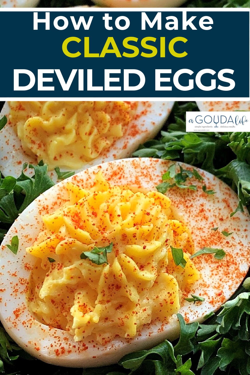 pinterest pin showing closeup of deviled egg garnished with paprika