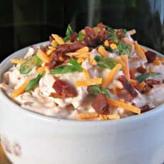 Best Loaded Spicy Ranch Dip ~ sour cream, French onion, plus everything else we love in a dip ~ spicy ranch flavor, cheddar cheese and bacon! 5 minute prep.