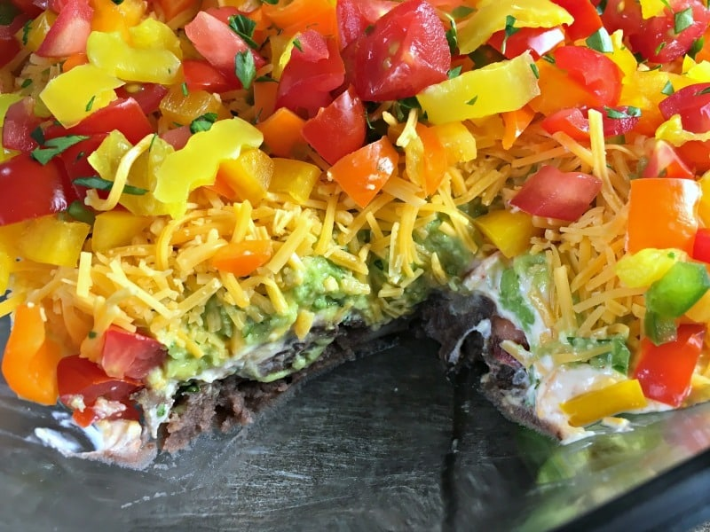 Layered Taco Dip: WARNING: it's too good to stop eating. Refried beans, spicy Greek yogurt, avocado, cheese, peppers. Just add tortilla chips.