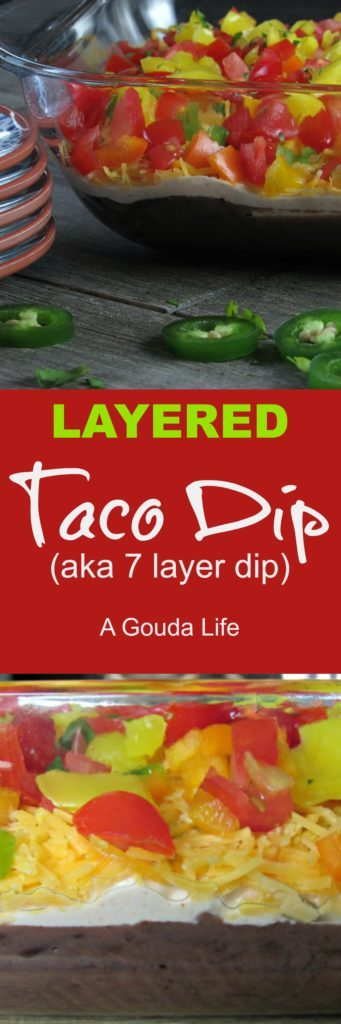 Also, the ingredients and amounts are loosely written. Feel free to swap in or out, adding more or less as you like until you reach your own Layered Taco Dip perfection. The amounts listed work well in a 9x9 pan or dinner plate size dish. If you go any smaller, the layers may be too thick or too thin in a larger pan. Layered Taco Dip is a great dip year-round. It'll definitely be on the menu this Memorial Weekend. It's a great appetizer or acts as delicious side dish for hot dogs and hamburgers which, incidentally will also be on the menu.