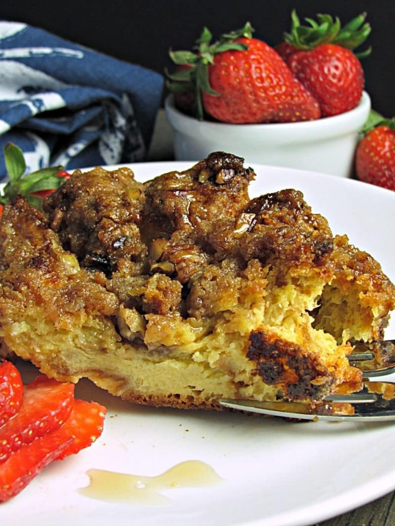 Overnight French Toast Casserole Recipe: cubed brioche soaked in a custardy mix, topped with crumbly praline. Prep the night before, bake the next morning.