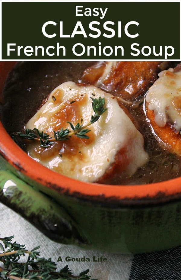 French Onion Soup ~ classic soup loaded with caramelized onions + a rich, flavor-packed beef-wine broth. Top with toasted croutons and gooey melted cheese.
