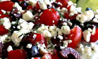 Greek Layered Dip ~ a simple, healthy appetizer or add grilled chicken for an any night meal ~ layered hummus, tzatziki, tomatoes, olives and Feta cheese.