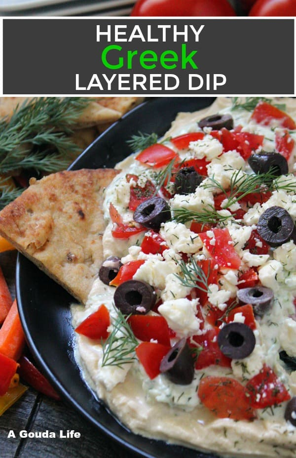 pinterest pin of greek layered dip