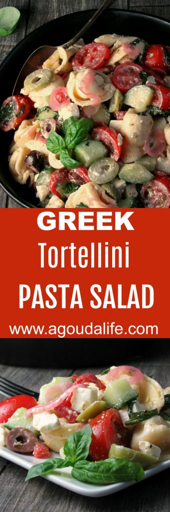 Greek Tortellini Pasta Salad ~ 3-cheese tortellini + fresh veggies, roasted red peppers, olives and feta tossed in a simple homemade Greek dressing.