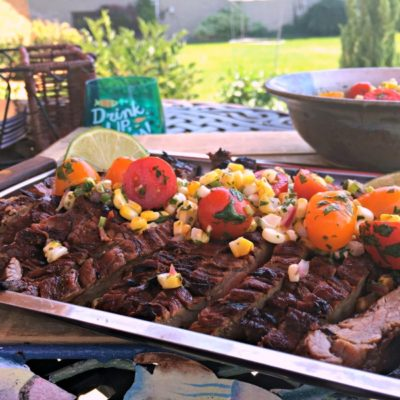 Grilled Marinated Flank Steak and Roasted Corn Salsa