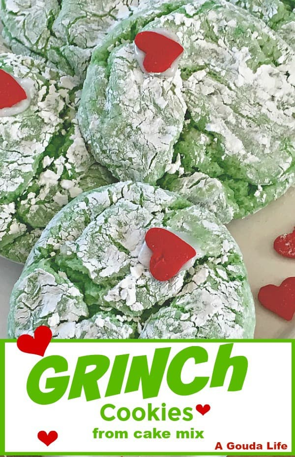 grinch cookie recipe ~ green crinkle cookies with red hearts.
