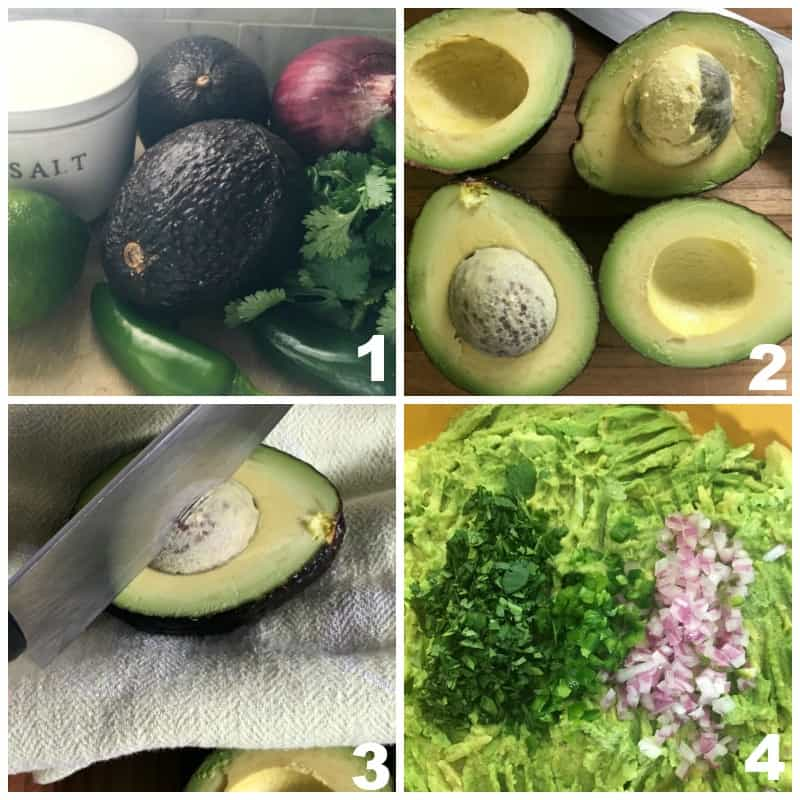 4 step grid showing how to make homemade guacamole