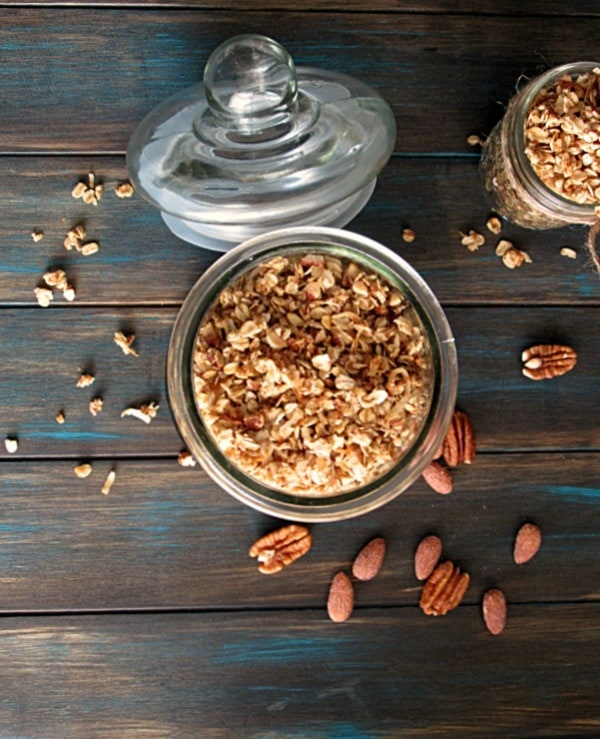 Homemade granola ~ tastier than store-bought, less expensive and super easy to make. A great start to your day or as a snack with yogurt and fruit.