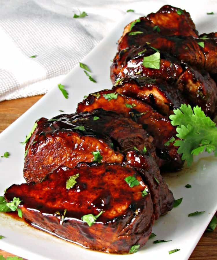 Glazed Honey Balsamic Pork Tenderloin ~ tender, juicy, over the top flavor ~ stove to table in 20 minutes.