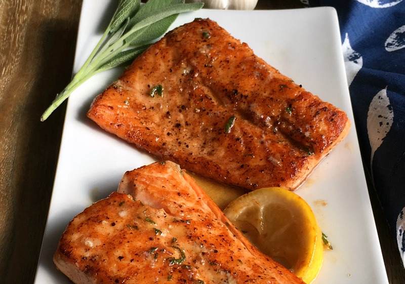 Easy Honey Garlic Salmon with browned butter sauce. Tasty! You've got to try this!