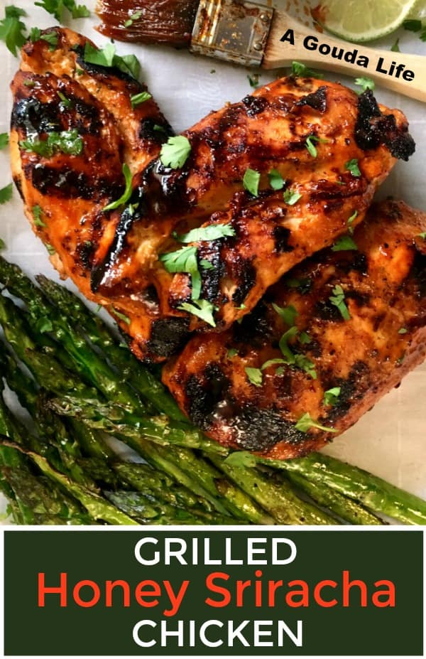 pinterest pin showing grilled chicken glazed in honey sriracha sauce with grilled asparagus