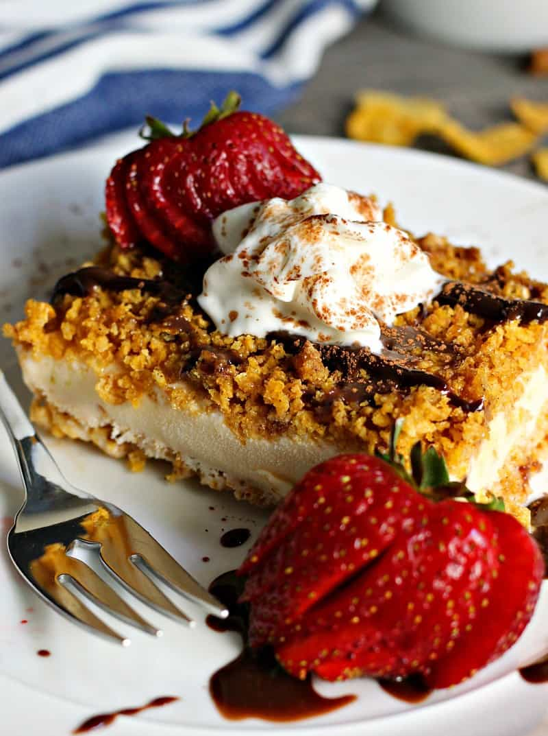 Easy Fried Ice Cream Cake ~ vanilla ice cream with a crispy honey-cinnamon coating drizzled with fudge and topped with whipped cream and fresh strawberries.