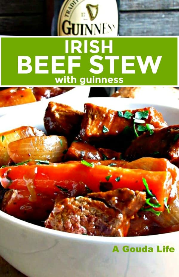 irish guinness beef stew ~ bowl of stew showing beef chunks, carrots and onions with bottled guinness in the background