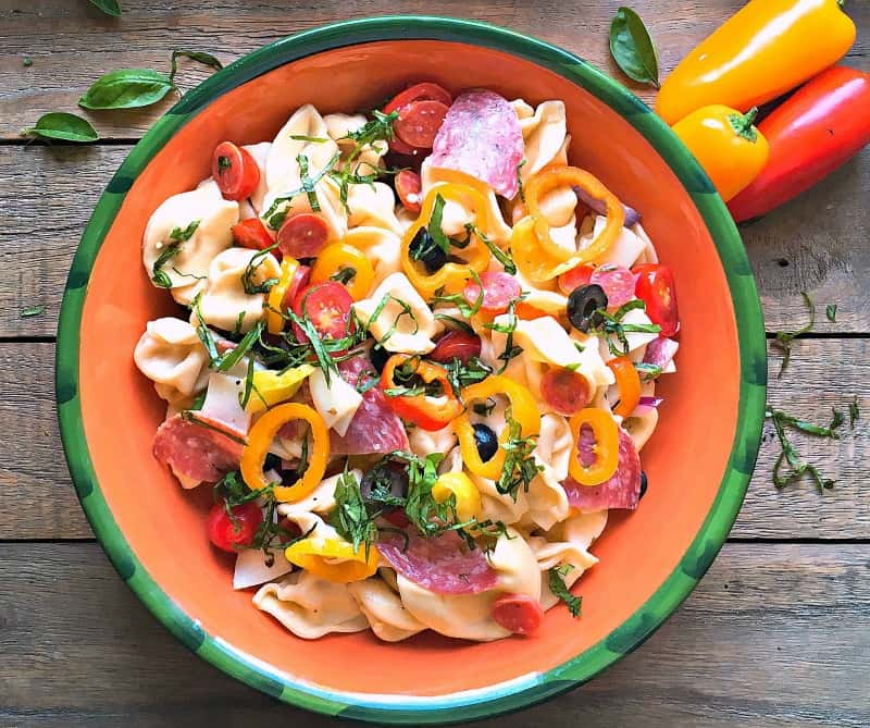 Italian Pasta Salad ~ favorite smoked meats from an Italian sub, plus garden fresh vegetables and cheese tortellini, lightly dressed in Italian dressing.