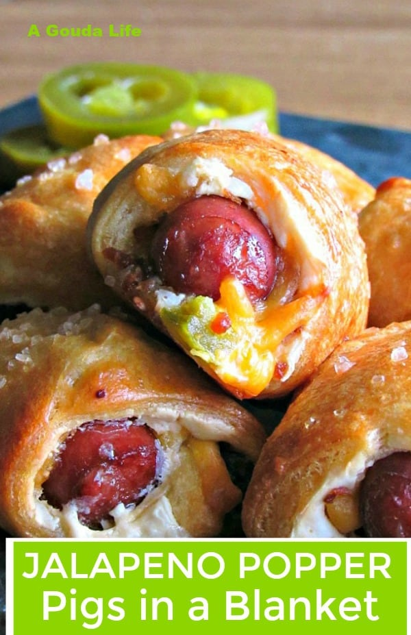 jalapeno poppers pigs in a blanket ~ golden crescent dough wrapped around mini smoked sausage flavored with cheese, bacon bits and jalapeno.