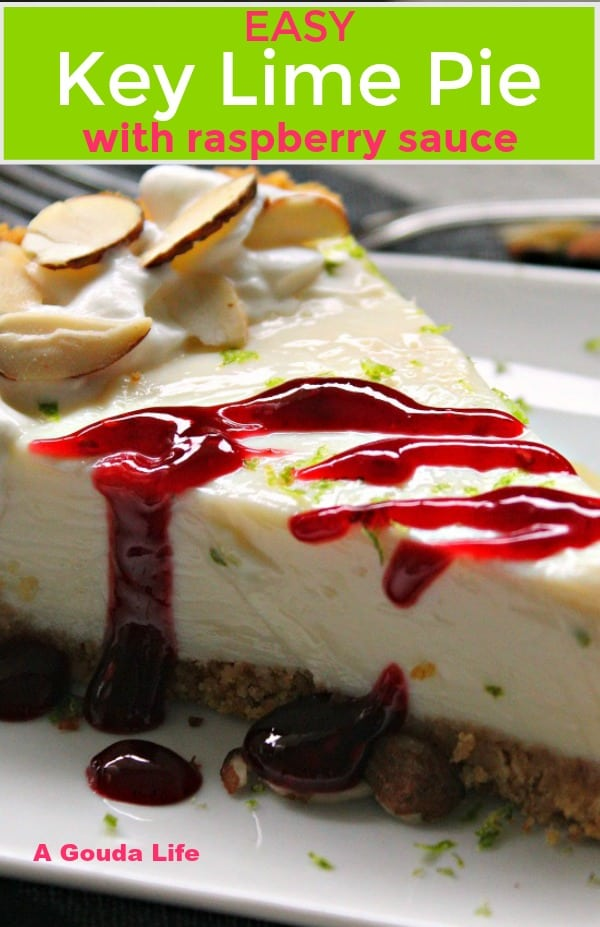 pin for pinterest shows slice of pie with raspberry sauce
