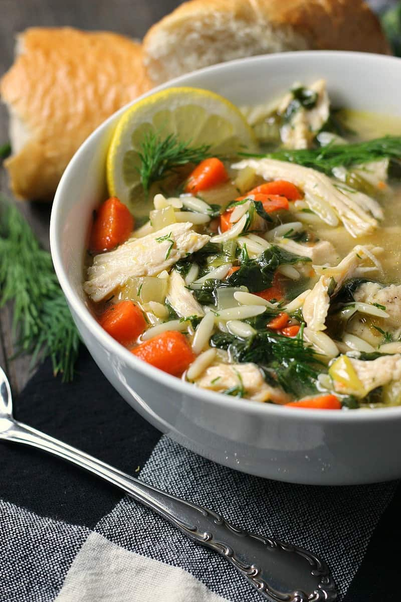 Lemon Chicken Orzo Soup ~ loaded with tender bites chicken, orzo, carrots, spinach, fresh dill and tangy lemon flavor. Cooks in just one pot.