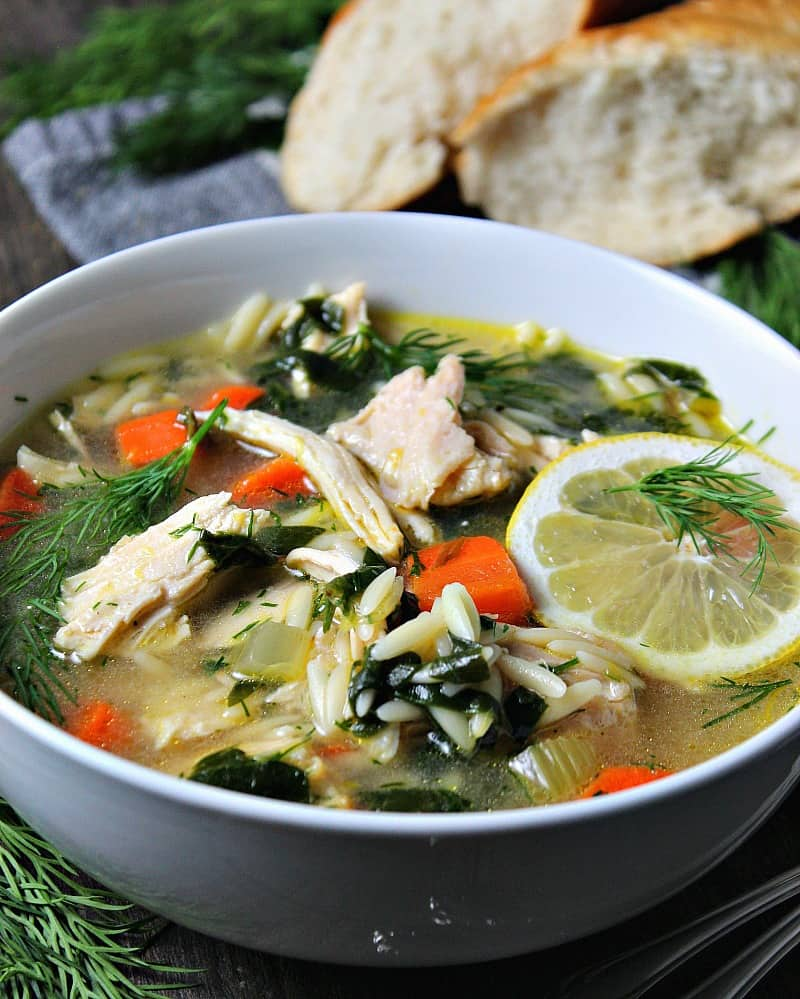 lemon chicken orzo soup ~
