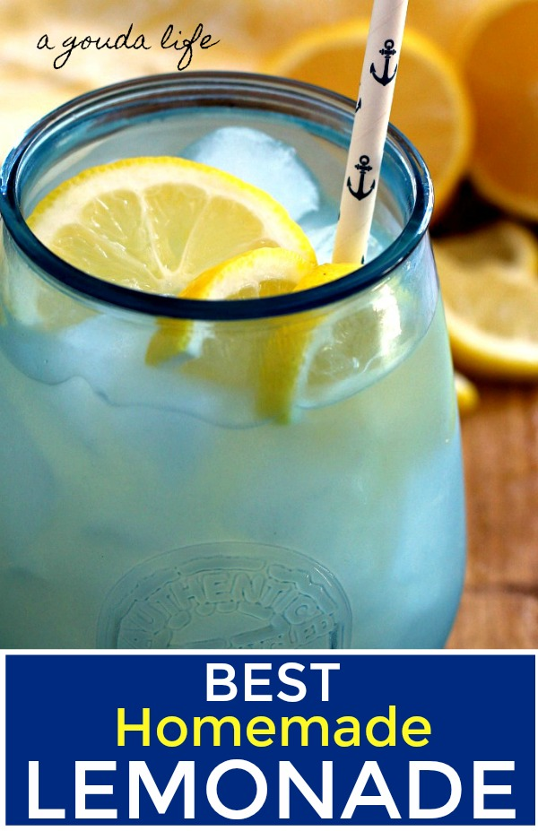 icy blue glass with homemade lemonade and sliced lemons