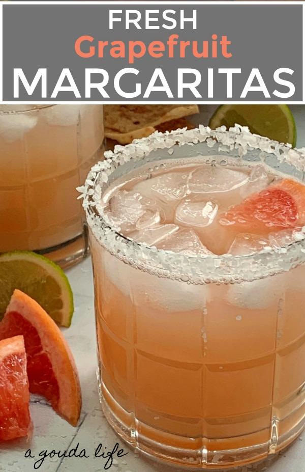 fresh grapefruit margarita with salt rimmed glass