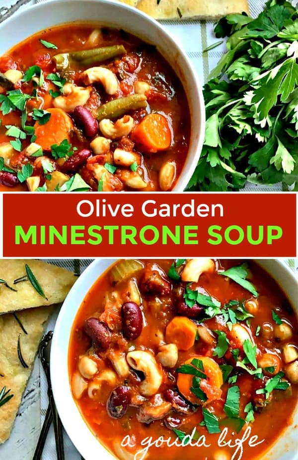 overhead view olive garden minestrone soup bowls