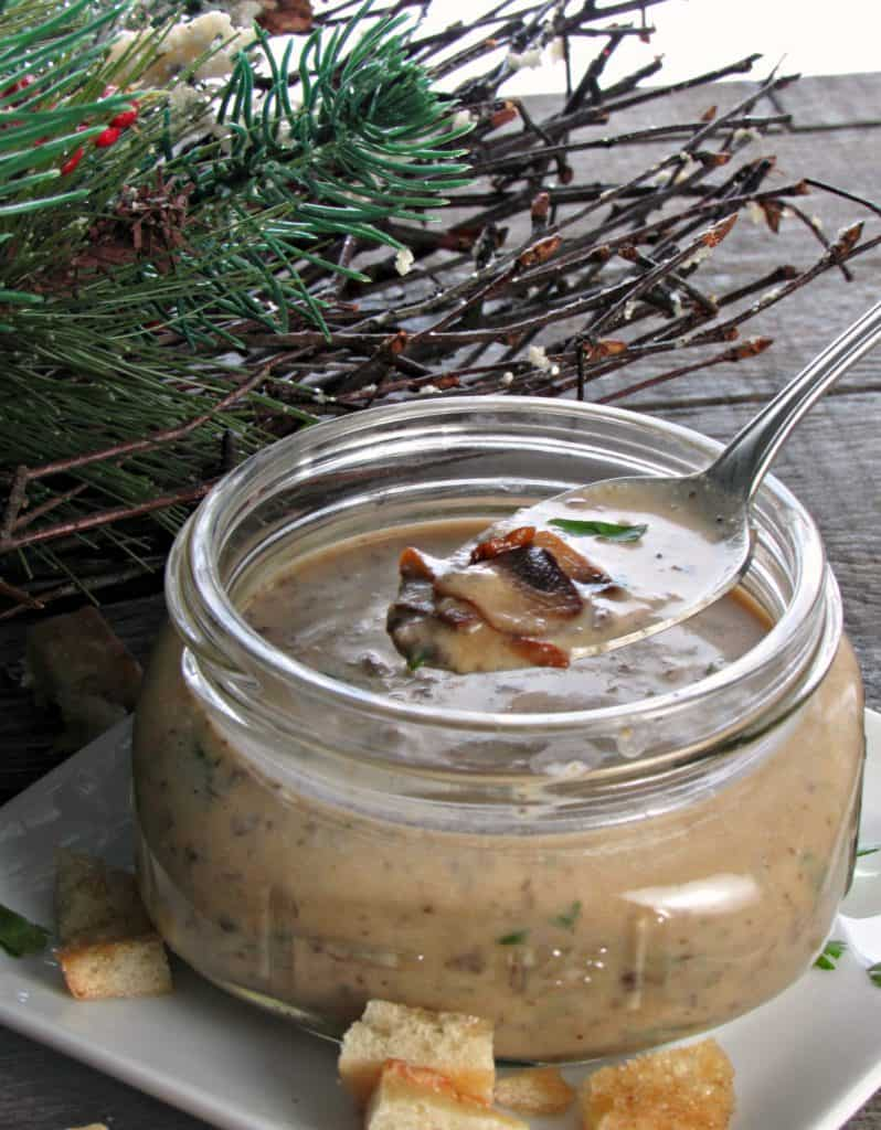 Mushroom Brie Bisque ~ rich, decadent with a creamy texture and delicious rustic mushroom flavor. Simple to make with flavors you'll never find in a can.