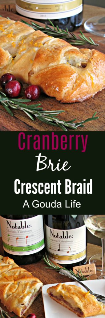 Cranberry Brie Crescent Braid ~ golden crescent filled with warm brie cheese, cranberry sauce, pistachios + fresh orange zest. The ideal holiday appetizer!