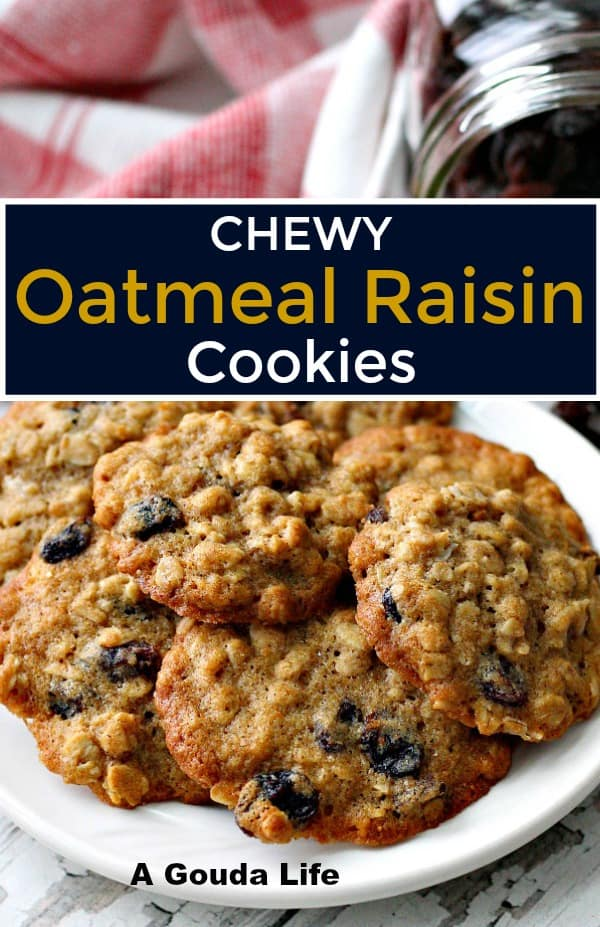 pinterest pin for oatmeal raisin cookies