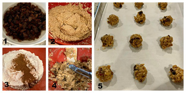 steps showing how to make oatmeal raisin cookies