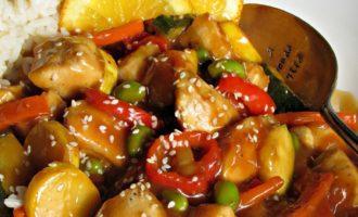 Honey Orange Chicken ~ a lighter version withfresh citrus flavor, sautéed vegetables, tender bites of chicken without heavy breading= an easy under-30 minute meal.