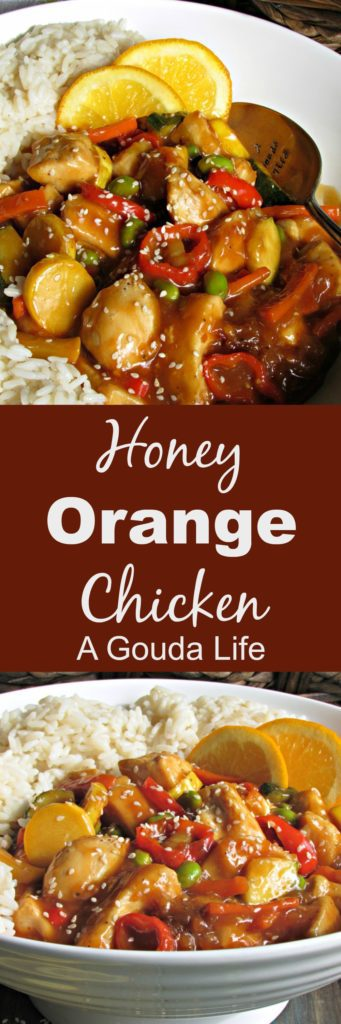 Honey Orange Chicken ~ a lighter version with fresh citrus flavor, sautéed vegetables, tender chicken without heavy breading