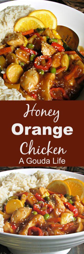 Honey Orange Chicken ~ a lighter version withfresh citrus flavor, sautéed vegetables, tender chicken without heavy breading