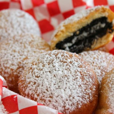 pinterest pin for air fryer fried oreos