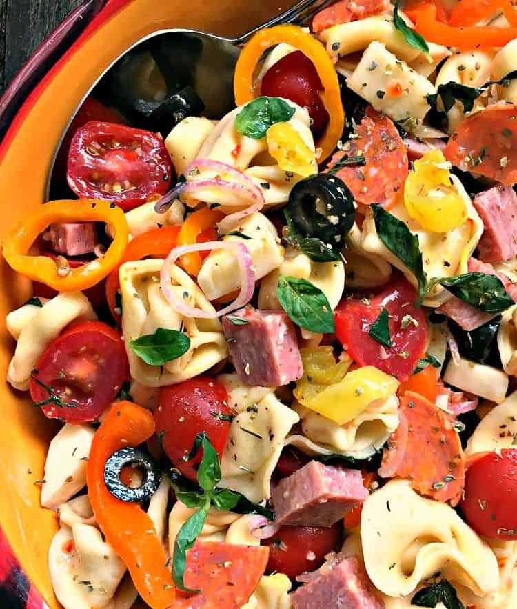 italian pasta salad ~ tortellini antipasto salad overhead view in colorful bowl