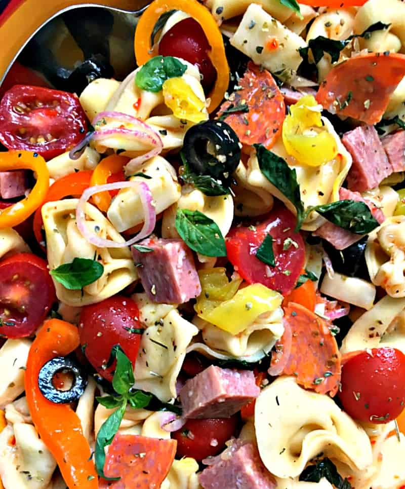 close up overhead of tortellini antipasto salad showing bright colored vegetables and pasta