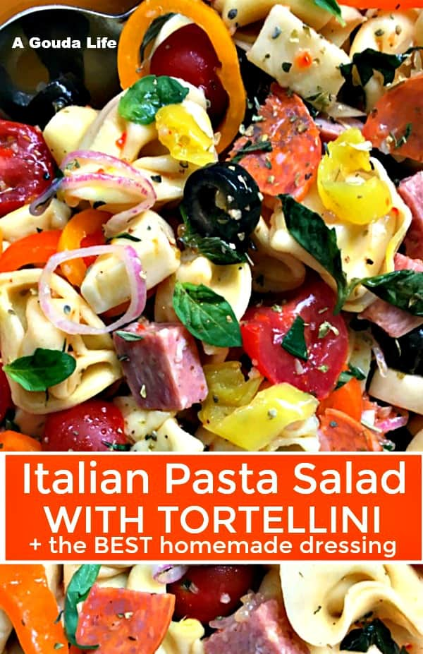 pinterest pin showing bowl of pasta salad with tortellini, vegetables and italian meats