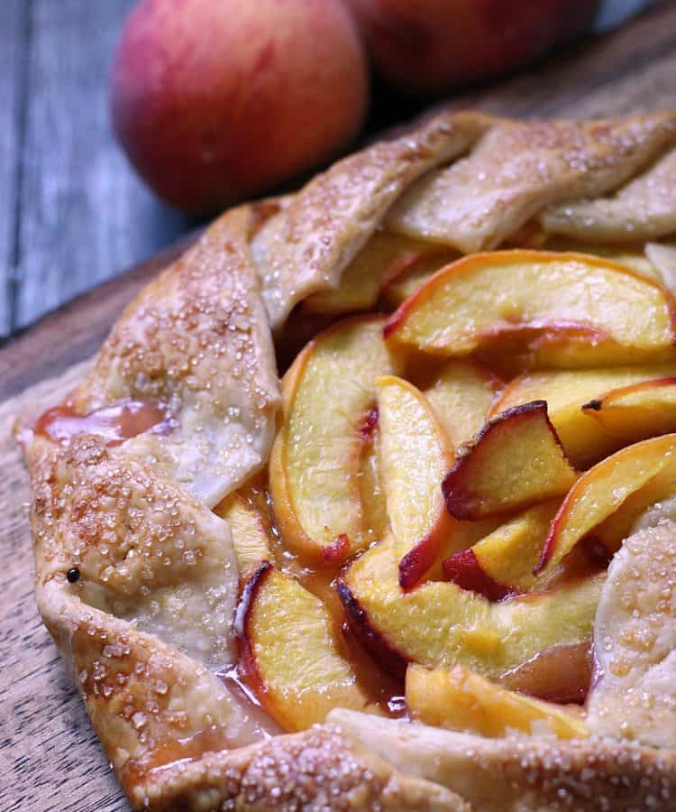 peach galette recipe ~ rustic peach galette topped with coarse sugar and baked until golden.