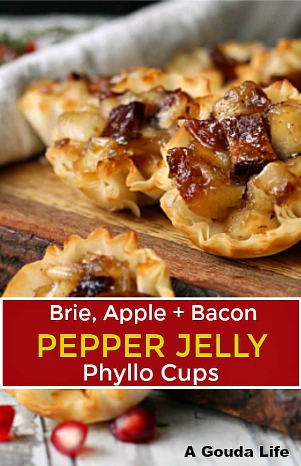 phyllo cups filled with diced sauteed apples
