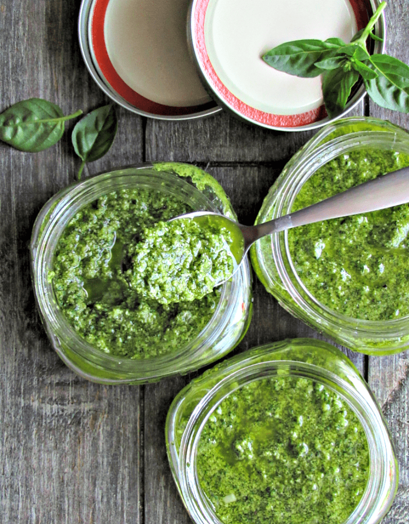 Basil Spinach Pesto ~ a simple no-cook sauce delicious on pasta, pizza or as an appetizer, made completely in a food processor or blender.