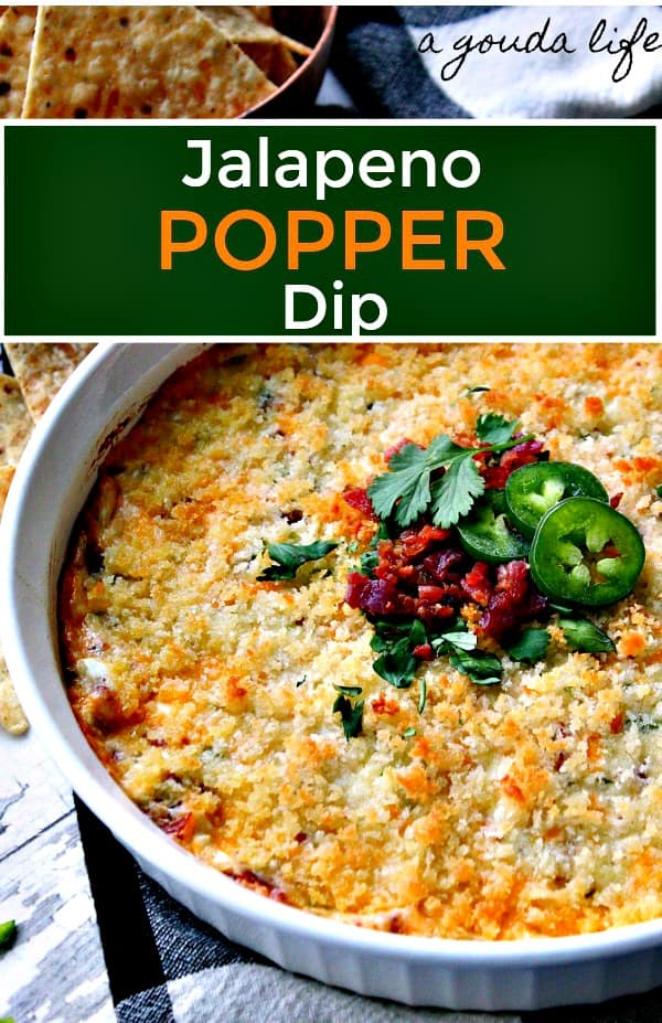 pinterest pin showing jalapeno popper dip garnished with bacon and sliced jalapeno peppers