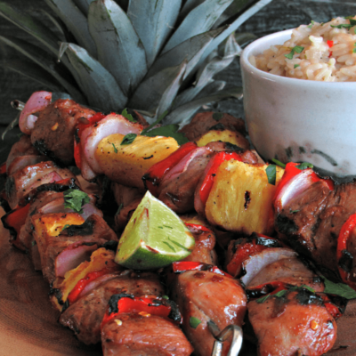 Grilled Teriyaki Rum Pork Kabobs