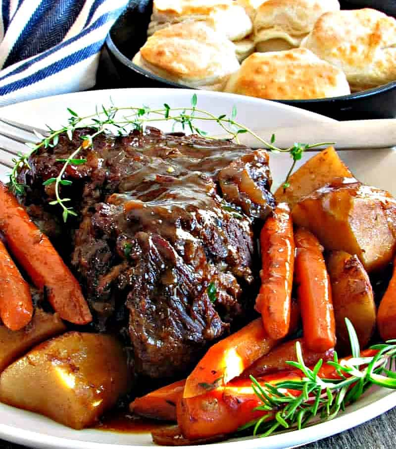 easy slow cooker pot roast with vegetables. oven roast cooking method included
