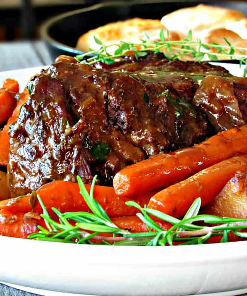 easy slow cooker pot roast with vegetables (oven roast cooking method included)