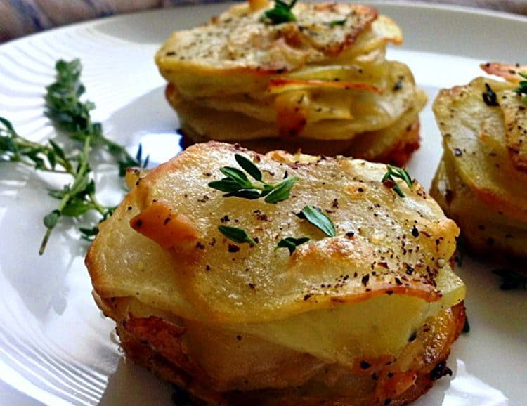Smoked Gouda Muffin Tin Potato Stacks: layers of thinly sliced potatoes, topped with smoked gouda ~ tender on the inside, crispy edges on the outside.