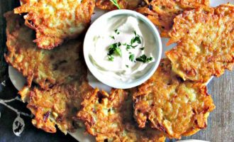 Crispy Potato Pancakes ~ crispy outside with tender shredded potatoes inside. Serve with applesauce or sour cream. Eastern European tradition.