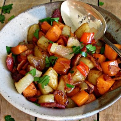 Sweet and Russet Potato Hash with Bacon